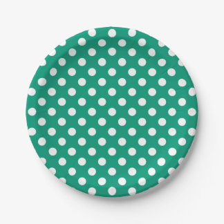 Trendy Modern White Polka Dots on Emerald Green 7 Inch Paper Plate