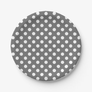 Trendy Modern White Polka Dots on Gray 7 Inch Paper Plate