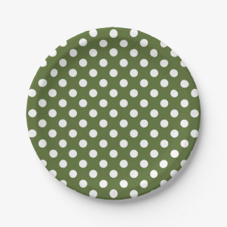 Trendy Modern White Polka Dots on olive Green 7 Inch Paper Plate
