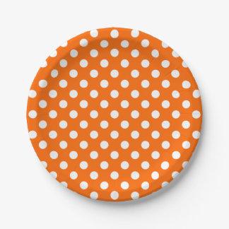 Trendy Modern White Polka Dots on Orange Paper Plate