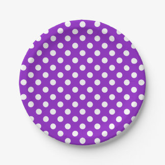 Trendy Modern White Polka Dots on Purple 7 Inch Paper Plate