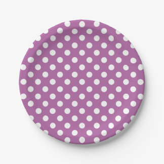 Trendy Modern White Polka Dots on Radiant Orchid 7 Inch Paper Plate