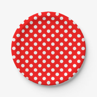 Trendy Modern White Polka Dots on Red 7 Inch Paper Plate