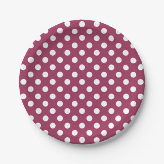 Trendy Modern White Polka Dots on Sangria Pink 7 Inch Paper Plate