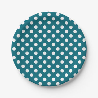 Trendy Modern White Polka Dots on Teal Blue 7 Inch Paper Plate