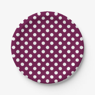 Trendy Modern White Polka Dots on Tyrian Purple 7 Inch Paper Plate
