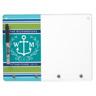 Trendy Monogram Anchor Laurel Wreath Stripes Aqua Dry Erase Board With Key Ring Holder