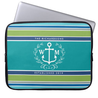 Trendy Monogram Anchor Laurel Wreath Stripes Aqua Laptop Sleeve