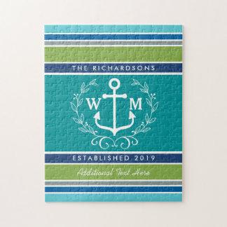 Trendy Monogram Anchor Laurel Wreath Stripes Aqua Puzzles