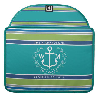 Trendy Monogram Anchor Laurel Wreath Stripes Aqua Sleeve For MacBooks