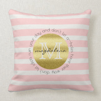 Trendy Monogram Gold Glitter Blush Pink Stripes Cushion