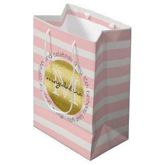 Trendy Monogram Gold Glitter Blush Pink Stripes Medium Gift Bag