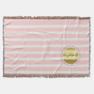 Trendy Monogram Gold Glitter Blush Pink Stripes Throw Blanket