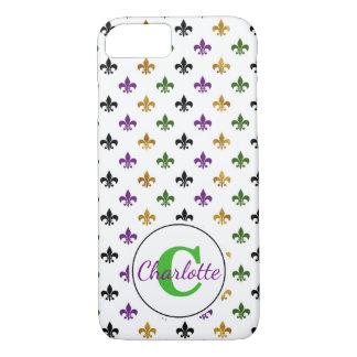 Trendy Monogram Mardi Gras Fleur De Lis iPhone 8/7 Case
