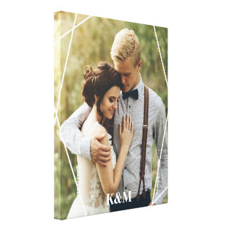Trendy Monogram Photo Canvas Print