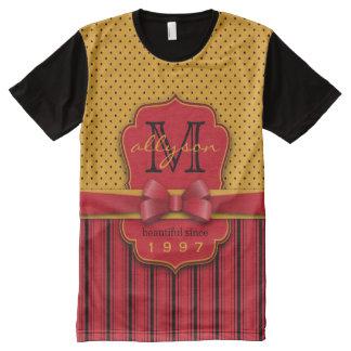 Trendy Monogram Retro Yellow Polka Dot Red Stripes All-Over Print T-Shirt