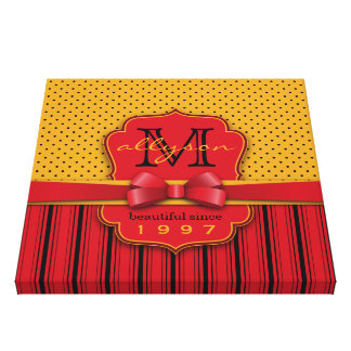 Trendy Monogram Retro Yellow Polka Dot Red Stripes Canvas Print