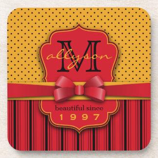 Trendy Monogram Retro Yellow Polka Dot Red Stripes Coaster