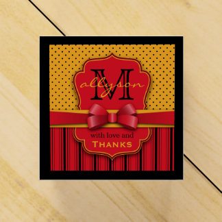 Trendy Monogram Retro Yellow Polka Dot Red Stripes Favour Box