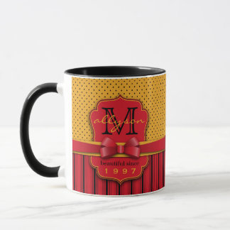 Trendy Monogram Retro Yellow Polka Dot Red Stripes Mug
