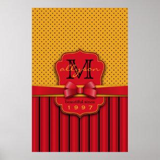Trendy Monogram Retro Yellow Polka Dot Red Stripes Poster