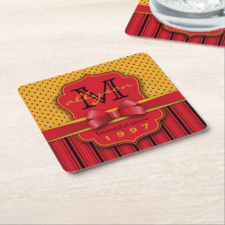 Trendy Monogram Retro Yellow Polka Dot Red Stripes Square Paper Coaster
