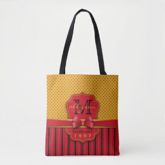 Trendy Monogram Retro Yellow Polka Dot Red Stripes Tote Bag