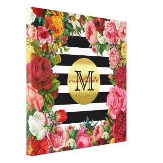 Trendy Monogram Stripes Roses Flowers Gold Glitter Canvas Print