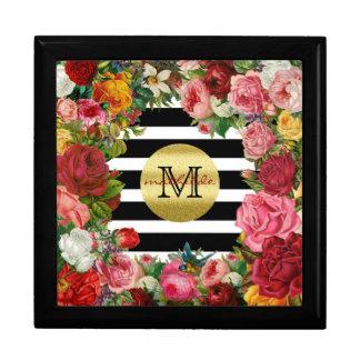 Trendy Monogram Stripes Roses Flowers Gold Glitter Gift Box