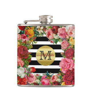 Trendy Monogram Stripes Roses Flowers Gold Glitter Hip Flask