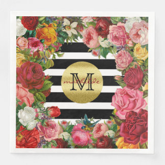 Trendy Monogram Stripes Roses Flowers Gold Glitter Paper Napkins