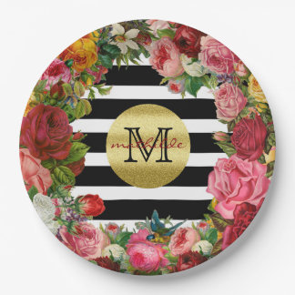 Trendy Monogram Stripes Roses Flowers Gold Glitter Paper Plate