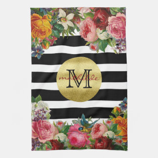 Trendy Monogram Stripes Roses Flowers Gold Glitter Tea Towel