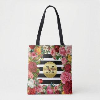Trendy Monogram Stripes Roses Flowers Gold Glitter Tote Bag