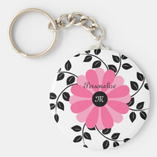Trendy Monogrammed Pink And Black Flower With Name Basic Round Button Key Ring