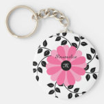 Trendy Monogrammed Pink And Black Flower With Name Keychains