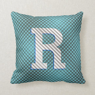 Trendy Monogrammed Plaid and Striped Throw Pillow