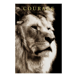 Trendy Motivational Courage Lion Sepia Brown Poster