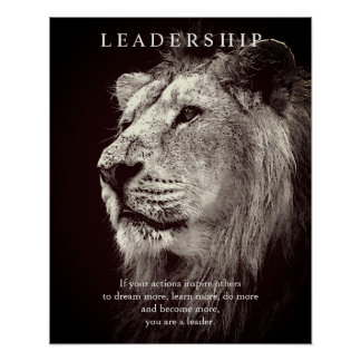 Trendy Motivational Leadership Lion Brown Poster