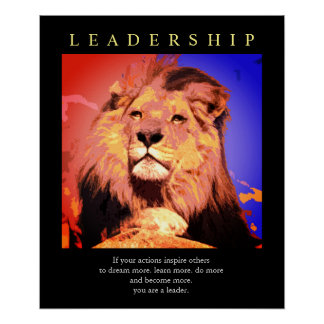Trendy Motivational Leadership Lion Pop Art Poster