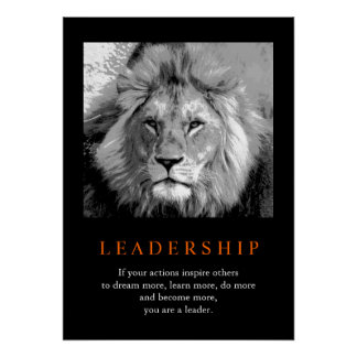 Trendy Motivational Leadership Lion Poster
