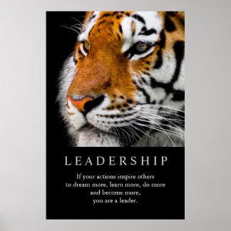 Trendy Motivational Leadership Tiger Eyes Poster