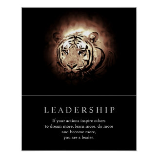 Trendy Motivational Leadership Tiger Poster
