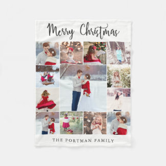 Trendy Multi Photo Collage Merry Christmas Blanket