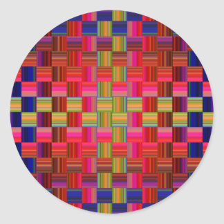 Trendy Multicolored Mosaic Tile Pattern Round Sticker