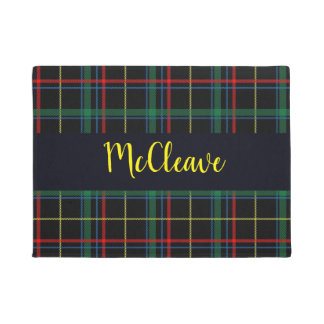 Trendy Multicolored Plaid Monogram Doormat