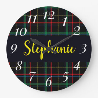 Trendy Multicolored Plaid Monogram Large Clock