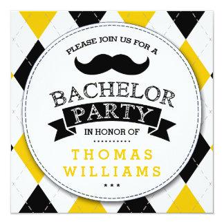Trendy Mustache Bachelor Party Invitations
