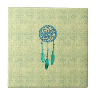 Trendy Native American Wolf Dreamcatcher Small Square Tile