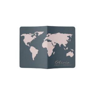 TRENDY NAVY BLUE BLUSH PINK ROSE GOLD WORLD MAP PASSPORT HOLDER